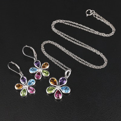 Sterling Topaz, Citrine, Amethyst and Garnet Flower Earring and Necklace Set