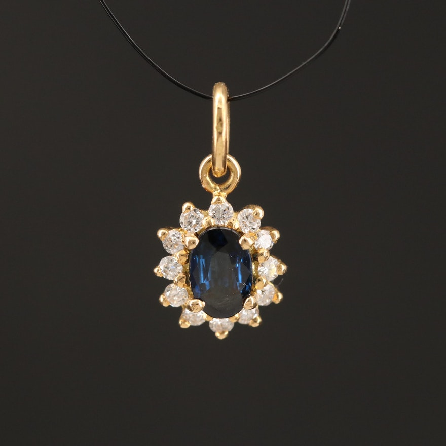 18K Sapphire and Diamond Halo Pendant