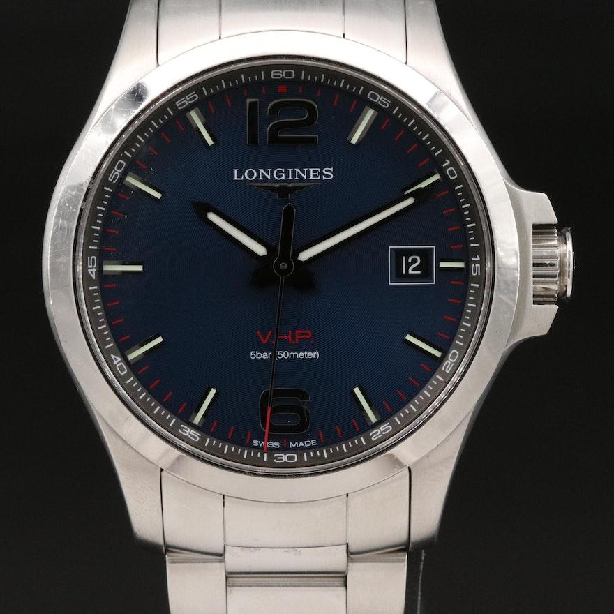 "Longines ""Conquest"" V.H.P. Stainless Steel Quartz Wristwatch"