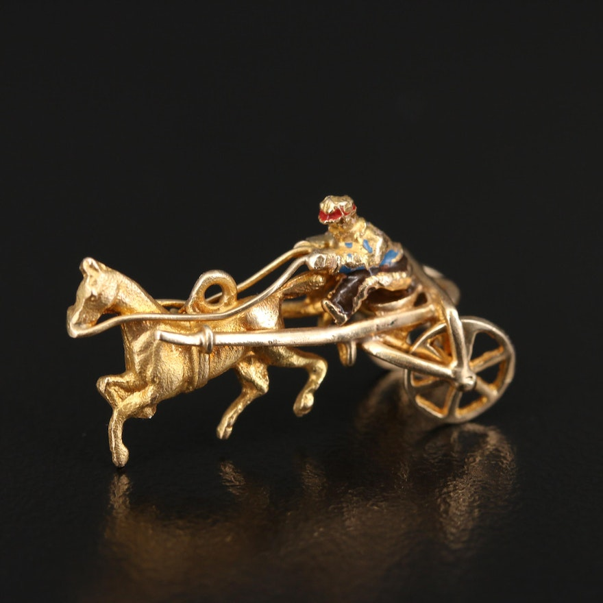Vintage 14K and Enamel Racing Horse and Buggy Charm with Articulated Wheels