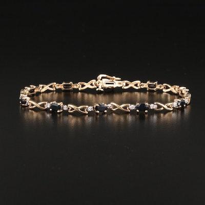 10K Sapphire and Diamond Link Bracelet