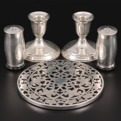 Towle Sterling Silver Candle Holders, Webster Trivet and Other Shakers