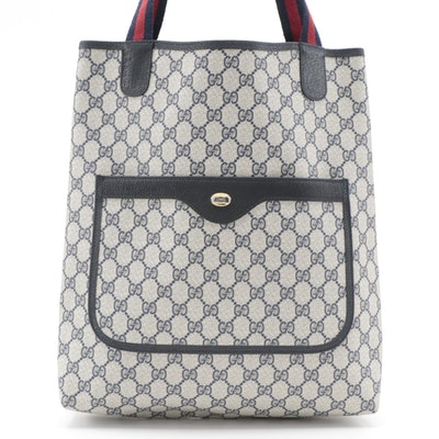 Gucci Accessory Collection Tote Bag in Navy GG Supreme Canvas with Web Straps