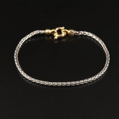 Italian Platinum Wheat Chain Bracelet with 18K Closure