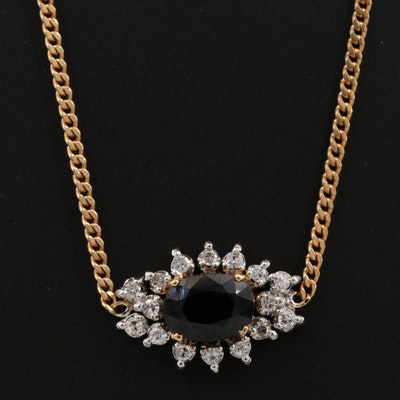 14K 1.30 CT Sapphire and Diamond Necklace