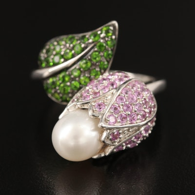Sterling Pearl, Pink Sapphire and Diopside Bypass Flower Ring
