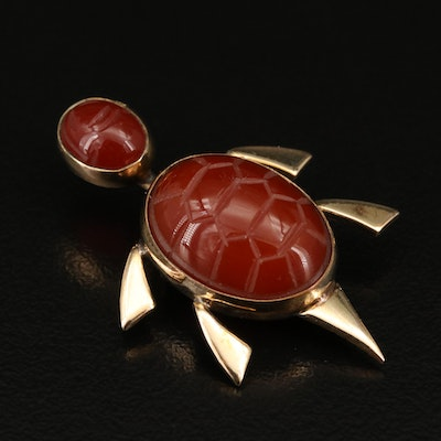 Carved Carnelian Turtle Brooch
