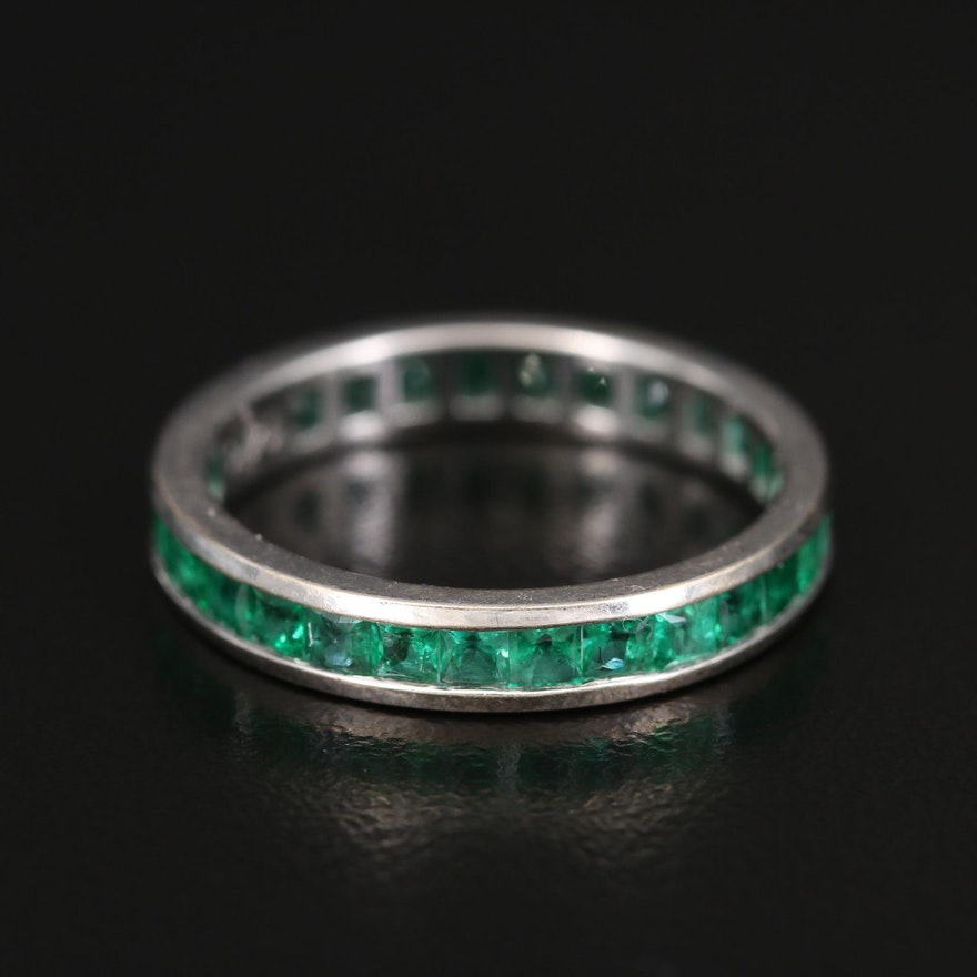 14K Emerald Eternity Band