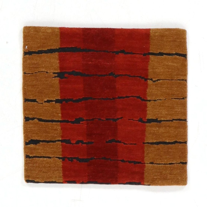 2' x 2'1 Hand-Knotted Ranta Nepalese Carved Pile Rug, 2000s