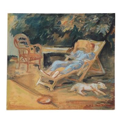 """József Menyhárt Watercolor Painting """"Pihenés,"""" Mid-20th Century"""