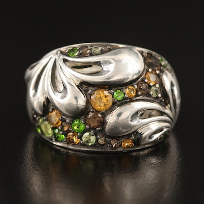 Ann King Sterling Ring Including Citrine, Smoky Quartz and Diopside