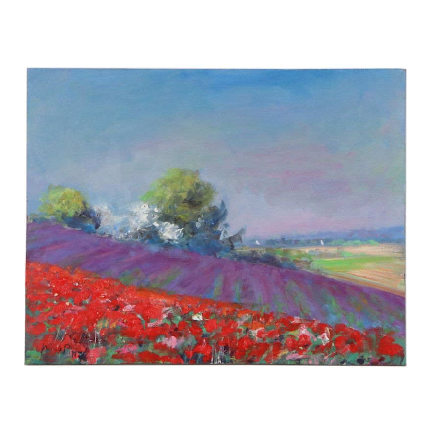 """Nino Pippa Oil Painting """"Provence - Flower Fields in the Rhone Valley"""""""