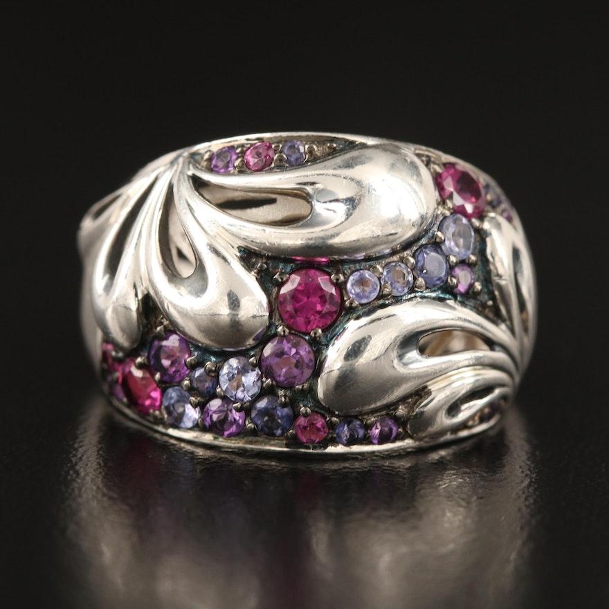 Ann King Sterling Rhodolite Garnet, Tanzanite and Amethyst Ring