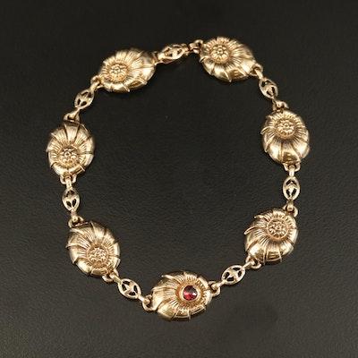 Vintage 10K Floral Link Bracelet with Garnet Accent