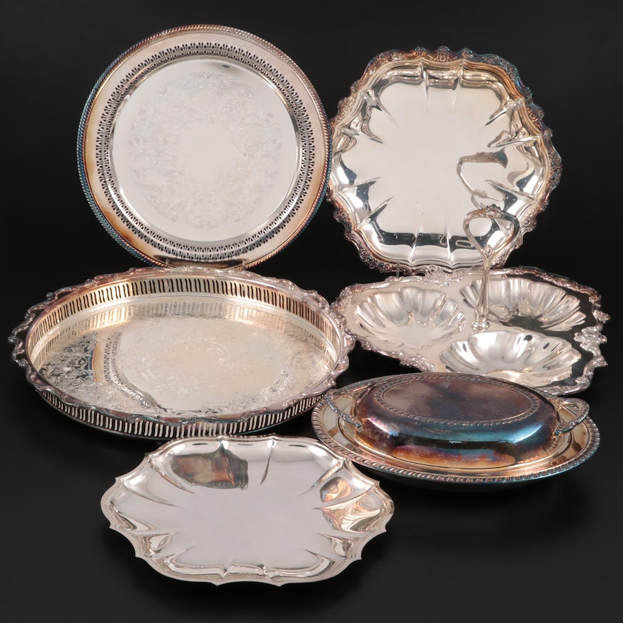 International Silver, Towle and Rogers Bros Silver Plate Serveware and Platters
