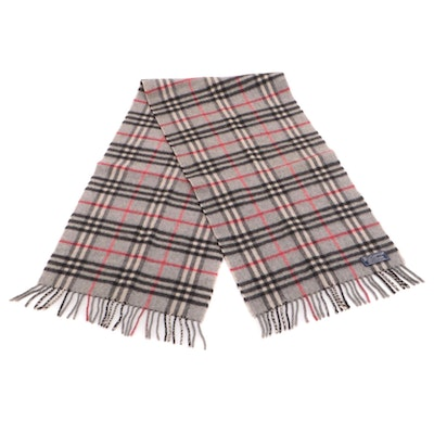 "Burberrys of London Grey ""House Check"" Cashmere Fringed Scarf"