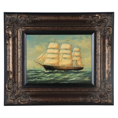 Oil Painting over Giclée of Clipper Ship, 21st Century