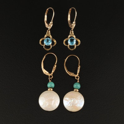 14K Earrings Including Topaz, Pearl and Imitation Turquoise