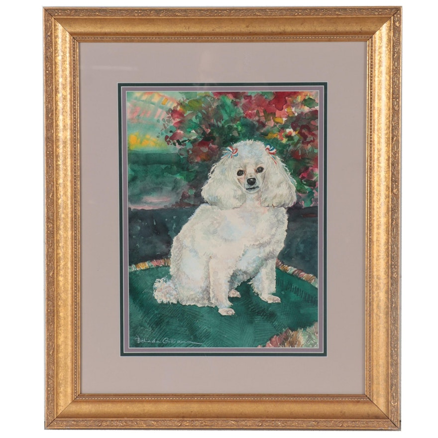 Belinda Gilliam Watercolor Painting of White Poodle, 21st Century