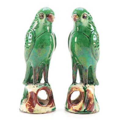 Pair of Green Glazed Ceramic Parakeet Figurines