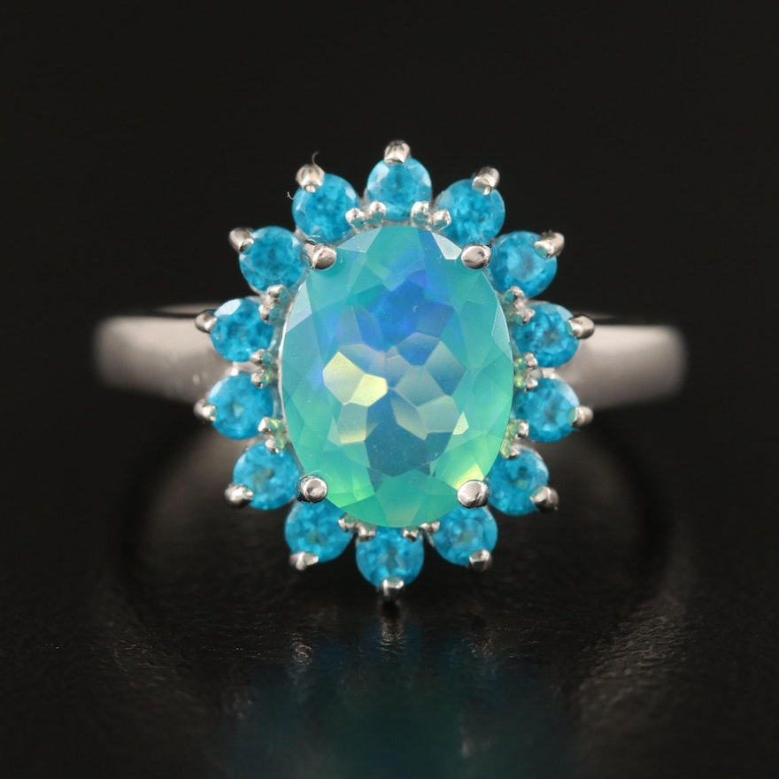 Sterling Opal and Apatite Halo Ring