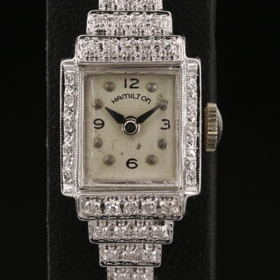 Vintage Hamilton 14K Diamond Wristwatch