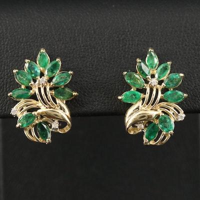 14K Emerald and Diamond Foliate Earrings