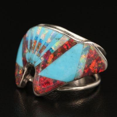 Sterling Silver Opal and Faux Turquoise Inlay Bear Ring