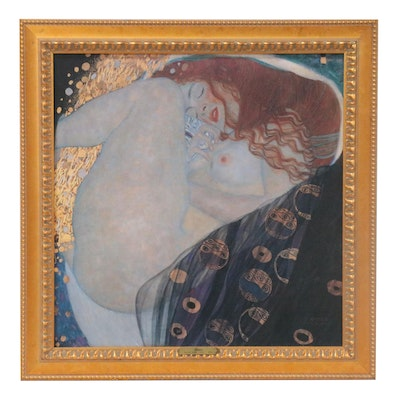 "Embellished Offset Lithograph after Gustav Klimt ""Danaë"""