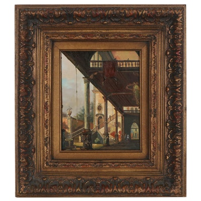 "Oil Painting after Canaletto ""Capriccio with Colonnade,"" 20th Century"