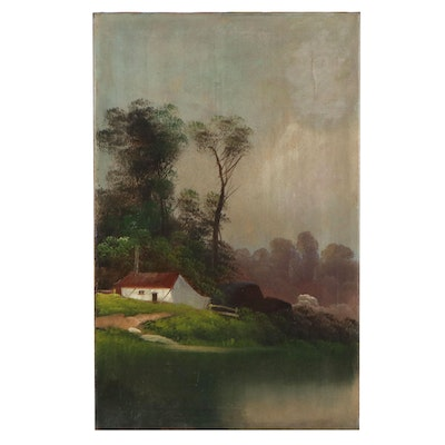 Landscape Oil Painting of House by a River, 20th Century