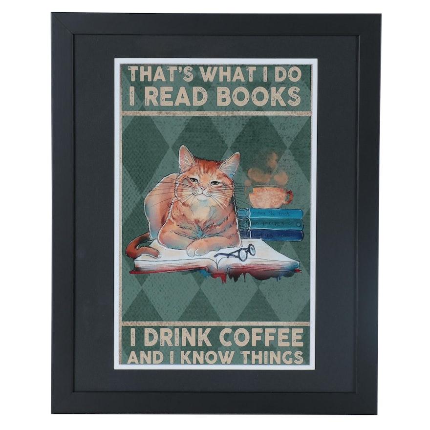 Contemporary Giclée of a Cat Reading a Book, 21st Century