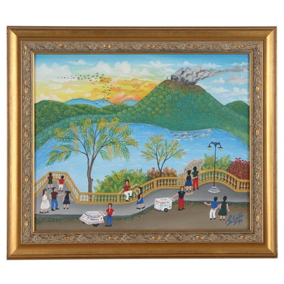 Folk Art Landscape Acrylic Painting of Street View with Volcano, 1996