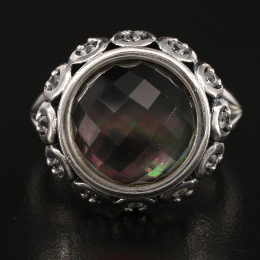 Ann King Sterling Quartz and Mother of Pearl Doublet Ring