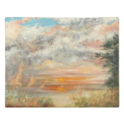 Art Ballman Landscape Oil Painting of a Beach Sunset, 1991