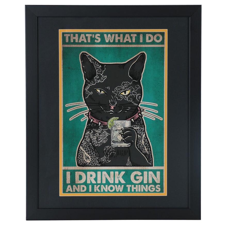 Pop Art Giclée of Black Cat, 21st Century