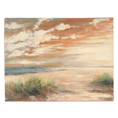 Art Ballman Landscape Oil Painting of Beach Sunset, 1994