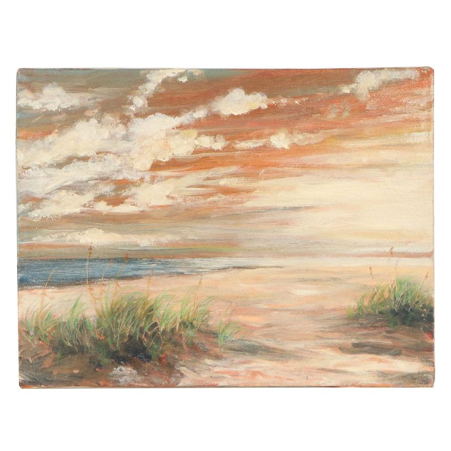 Art Ballman Landscape Oil Painting of Beach Sunset, 1994