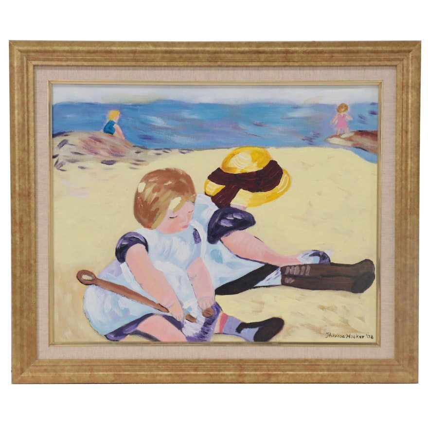 Acrylic Painting of Children on a Beach, 2008