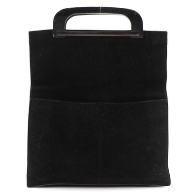 Gucci Black Suede Top Handle Bag with Wooden Handles