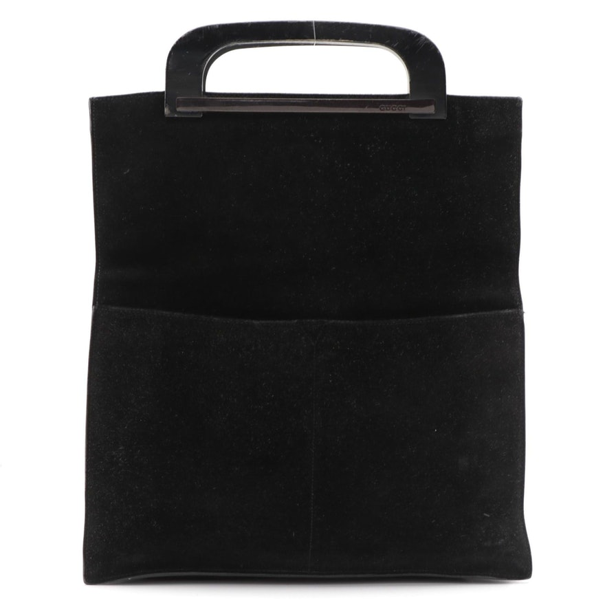 Gucci Black Suede Top Handle Bag with Wooden Handles