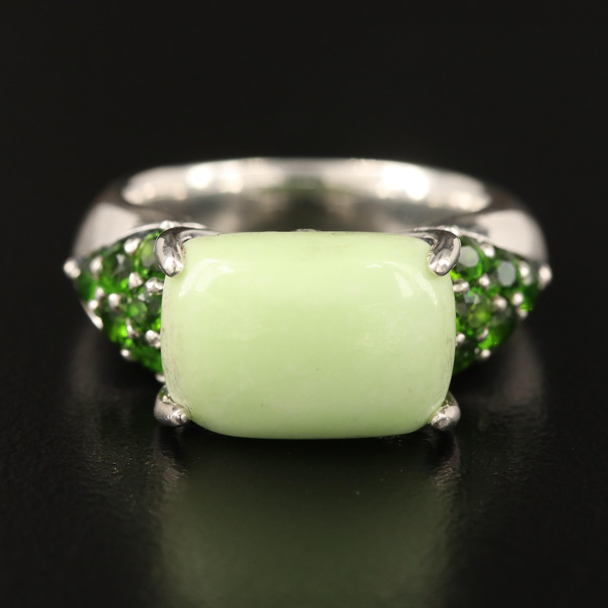 Ann King Sterling Magnesite and Diopside East-West Ring