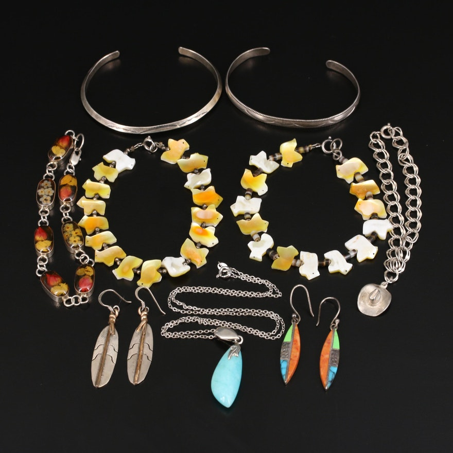 Sterling Jewelry Selection Including Amazonite, Mother of Pearl and Shell
