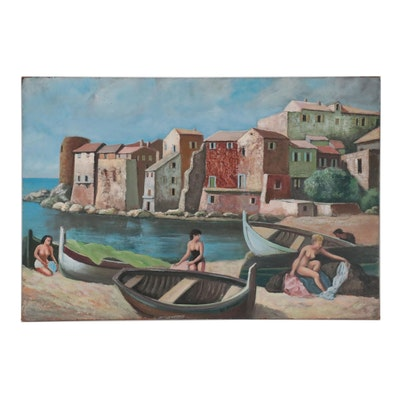 Leo Reignez Double-Sided Oil Painting, Mid-20th Century