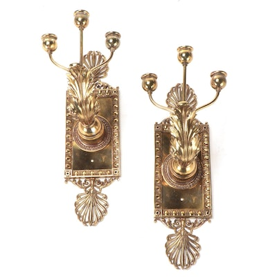 Neoclassical Style Cast Brass Three-Arm Candelabra Wall Sconces