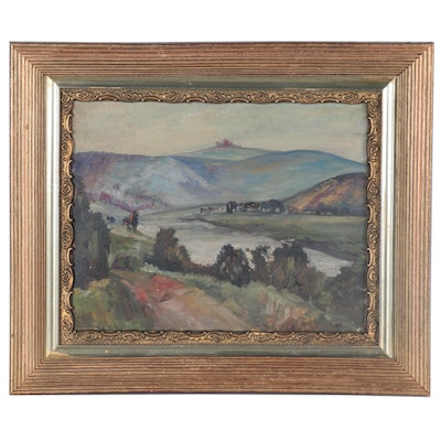 Valley Landscape Oil Painting, Early 20th Century
