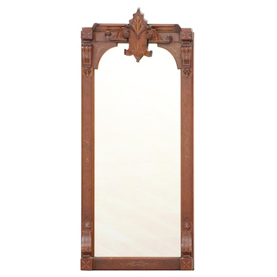 Victorian Renaissance Revival Walnut, Burl Walnut, and Gilt-Incised Pier Mirror