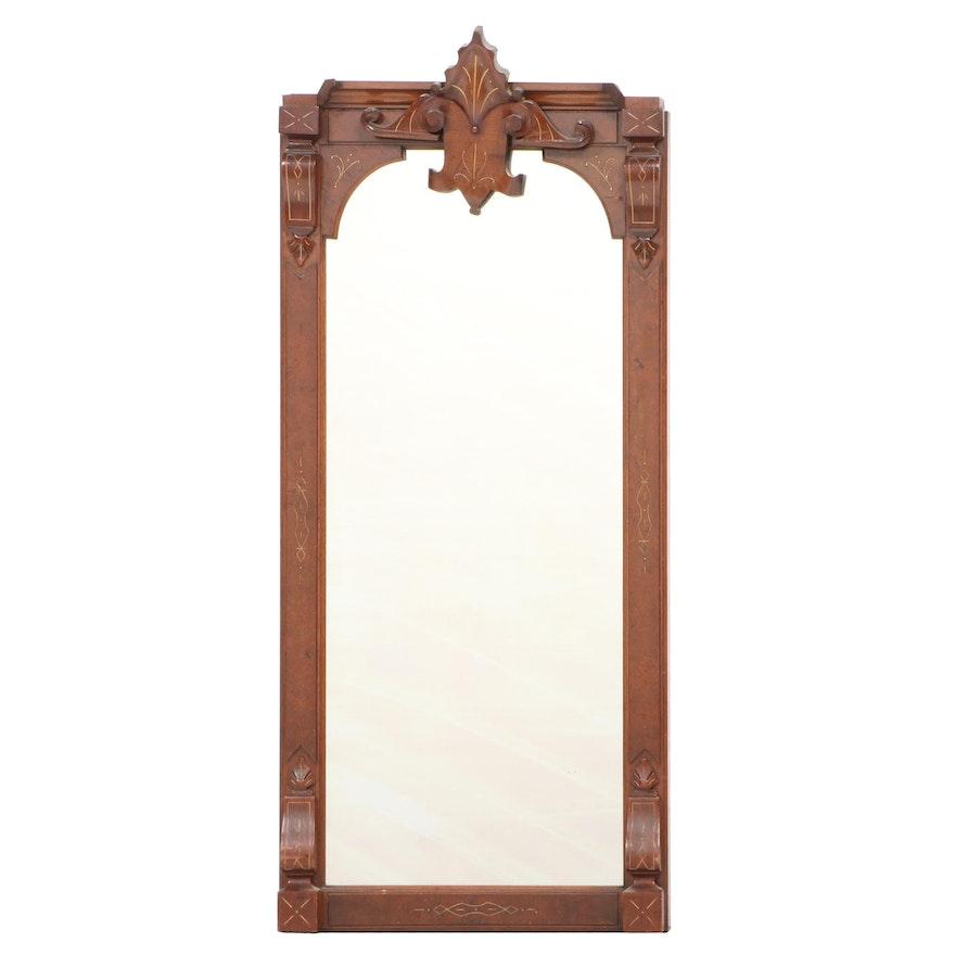 Victorian Renaissance Revival Walnut, Burl Walnut, and Gilt-Incised Pier Mirror