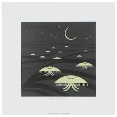 "Offset Lithograph after Charley Harper ""Moon Jellies,"" Late 20th Century"