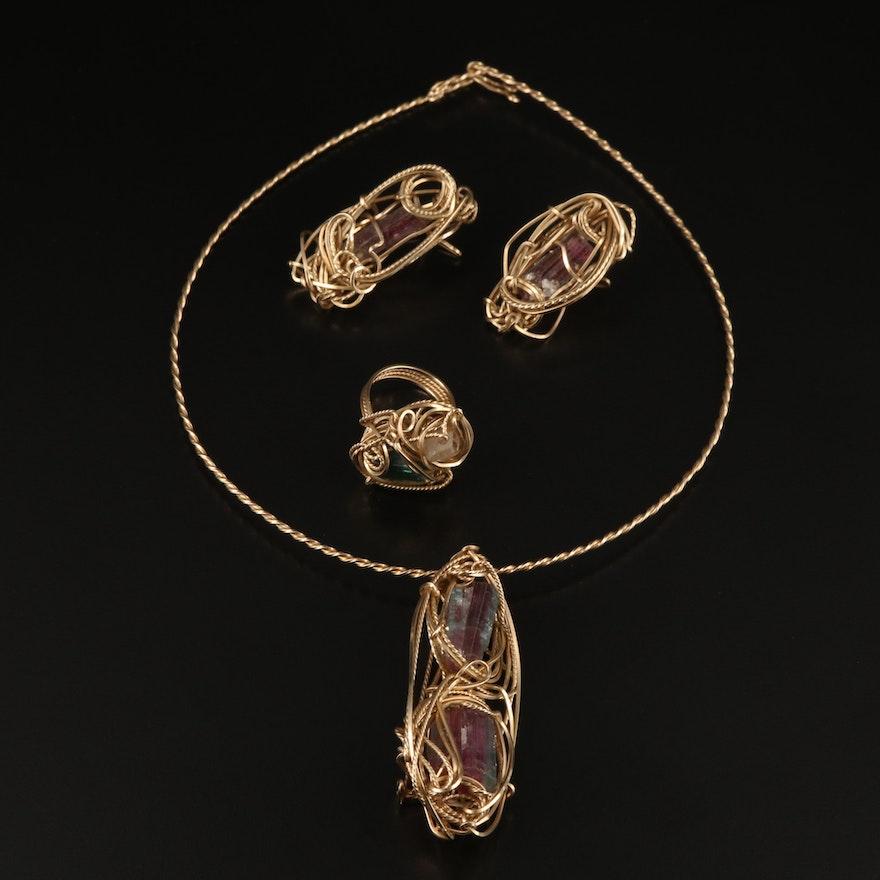 Wirework Tourmaline and Topaz Mineral Specimen Jewelry Set